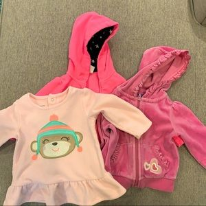 Bundle of 2 zip hoodies and sweater size 18M